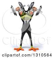 Clipart Of A 3d Bespectacled Green Business Springer Frog Doing Shoulder Presses With Dumbbells Royalty Free Illustration