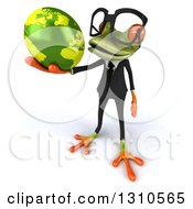 Clipart Of A 3d Bespectacled Green Business Springer Frog Facing Slightly Left And Holding A Globe Royalty Free Illustration