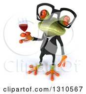 Clipart Of A 3d Bespectacled Green Business Springer Frog Looking Up And Holding A Glass Of Red Wine Royalty Free Illustration