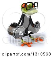 Clipart Of A 3d Bespectacled Green Business Springer Frog Facing Slightly Right Doing Dumbbell Squats With Dumbbells Royalty Free Illustration