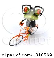 Clipart Of A 3d Bespectacled Green Business Springer Frog Looking Up And Riding A Bicycle Royalty Free Illustration