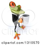 Clipart Of A 3d Green Business Springer Frog Facing Right And Holding A Mug Royalty Free Illustration