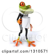 Clipart Of A 3d Green Business Springer Frog Walking Slightly Right With A Coffee Mug Royalty Free Illustration