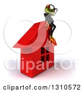 Clipart Of A 3d Bespectacled Green Business Springer Frog Facing Right And Sitting On A Red House Royalty Free Illustration