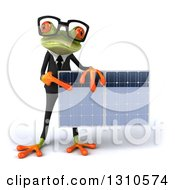 Clipart Of A 3d Bespectacled Green Business Springer Frog Holding And Pointing To A Solar Panel Royalty Free Illustration