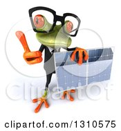 Clipart Of A 3d Bespectacled Green Business Springer Frog Holding Up A Thumb And A Solar Panel Royalty Free Illustration by Julos