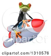 Clipart Of A 3d Green Business Springer Frog Riding A Rocket To The Right Royalty Free Illustration by Julos