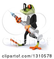 Clipart Of A 3d Bespectacled Green Business Springer Frog Walking To The Left And Carrying A Giant Vaccine Syringe Royalty Free Illustration