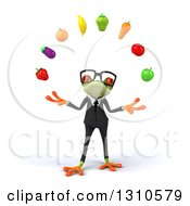 Clipart Of A 3d Bespectacled Green Business Springer Frog Juggling Produce Royalty Free Illustration