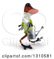 Clipart Of A 3d Red Springer Frog Gardener Walking To The Right And Carrying A Watering Can Royalty Free Illustration