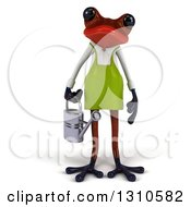 Clipart Of A 3d Red Springer Frog Gardener Holding A Watering Can Royalty Free Illustration
