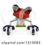 Clipart Of A 3d Red Springer Frog Gardener Over A Sign Royalty Free Illustration
