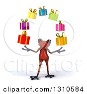 Clipart Of A 3d Red Springer Frog Juggling Gifts Royalty Free Illustration