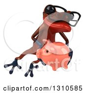 Clipart Of A 3d Bespectacled Red Springer Frog Holding A Piggy Bank And Leaping To The Right Royalty Free Illustration
