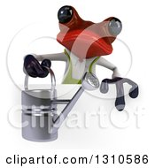 Clipart Of A 3d Red Springer Frog Gardener Holding A Watering Can Over A Sign Royalty Free Illustration
