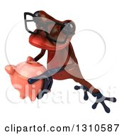 Clipart Of A 3d Bespectacled Red Springer Frog Holding A Piggy Bank And Leaping To The Left Royalty Free Illustration
