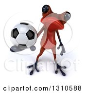 Clipart Of A 3d Red Springer Frog Holding Up A Soccer Ball Royalty Free Illustration