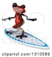 Clipart Of A 3d Red Springer Frog Surfing Royalty Free Illustration