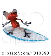Clipart Of A 3d Red Springer Frog Looking Up And Surfing Royalty Free Illustration