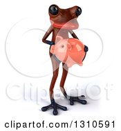 Clipart Of A 3d Red Springer Frog Facing Slightly Right And Holding A Piggy Bank Royalty Free Illustration