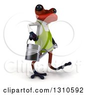 Clipart Of A 3d Red Springer Frog Gardener Walking Slightly To The Right And Carrying A Watering Can Royalty Free Illustration by Julos