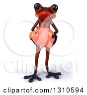 Clipart Of A 3d Red Springer Frog Holding A Piggy Bank Royalty Free Illustration