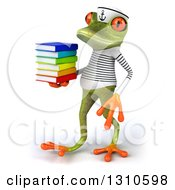 Clipart Of A 3d Green Springer Frog Sailor Walking To The Left And Carrying A Stack Of Books Royalty Free Illustration by Julos
