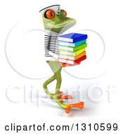 Clipart Of A 3d Green Springer Frog Sailor Walking To The Right And Carrying A Stack Of Books Royalty Free Illustration by Julos