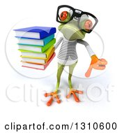 Clipart Of A 3d Bespectacled Green Springer Frog Sailor Holding Up A Stack Of Books And A Thumb Down Royalty Free Illustration