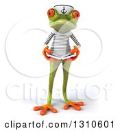 Clipart Of A 3d Green Springer Frog Sailor Holding An Open Book Royalty Free Illustration by Julos