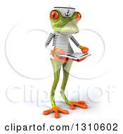 Clipart Of A 3d Green Springer Frog Sailor Facing Slightly Right And Holding An Open Book Royalty Free Illustration by Julos