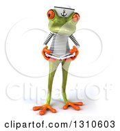 Clipart Of A 3d Green Springer Frog Sailor Reading A Book Royalty Free Illustration by Julos