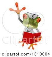 Clipart Of A 3d Green Springer Frog Sailor Leaping And Reading A Book Royalty Free Illustration by Julos