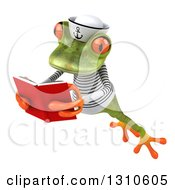 Clipart Of A 3d Green Springer Frog Sailor Leaping To The Left And Reading A Book Royalty Free Illustration by Julos