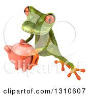 Clipart Of A 3d Green Springer Frog Leaping To The Left And Holding A Piggy Bank Royalty Free Illustration