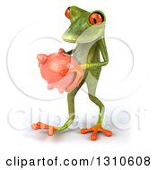 Clipart Of A 3d Green Springer Frog Walking To The Left And Holding A Piggy Bank Royalty Free Illustration
