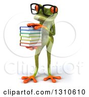 Clipart Of A 3d Bespectacled Green Springer Frog Facing Slightly Left And Holding A Stack Of Books Royalty Free Illustration