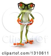 Clipart Of A 3d Bespectacled Green Springer Frog Walking And Reading A Book Royalty Free Illustration