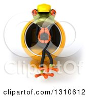 Clipart Of A 3d Green Contractor Springer Frog Sitting In A Cocoon Chair And Thinking Royalty Free Illustration