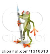 Clipart Of A 3d Green Springer Frog Nurse Facing Left With A Giant Vaccine Syringe Royalty Free Illustration