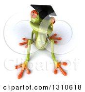 Clipart Of A 3d Green Springer Frog Graduate Sitting Back Royalty Free Illustration