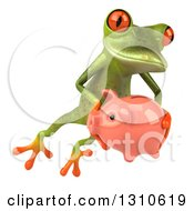 Clipart Of A 3d Green Springer Frog Leaping To The Right And Holding A Piggy Bank Royalty Free Illustration