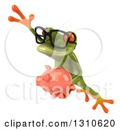 Clipart Of A 3d Bespectacled Green Springer Frog Leaping To The Left And Holding A Piggy Bank Royalty Free Illustration