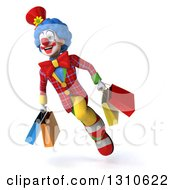 3d Super Clown Character Flying Slightly Left And Carrying Shopping Bags 2