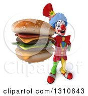 Clipart Of A 3d Clown Character Holding Up A Double Cheeseburger Royalty Free Illustration
