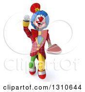 Clipart Of A 3d Super Clown Character Flying And Holding A Beef Steak Royalty Free Illustration