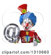 Clipart Of A 3d Clown Character Holding An Email Arobase At Symbol Over A Sign Royalty Free Illustration