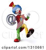 Clipart Of A 3d Clown Character Dancing And Holding An Email Arobase At Symbol Royalty Free Illustration