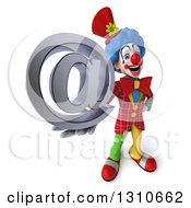 Clipart Of A 3d Clown Character Holding Up An Email Arobase At Symbol Royalty Free Illustration
