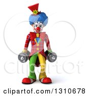 Clipart Of A 3d Clown Character Working Out Doing Squats With Dumbbells Royalty Free Illustration